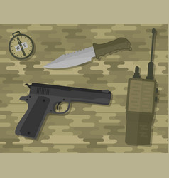 Weapons handgun pistol submachine hand gun vector