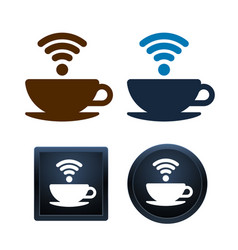 wifi coffee icons design coffee cups isolated vector image