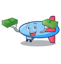 With money bag zeppelin mascot cartoon style vector