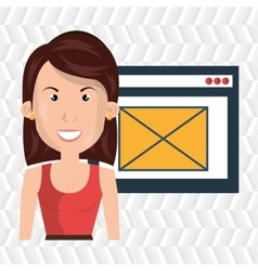 woman page web email vector image