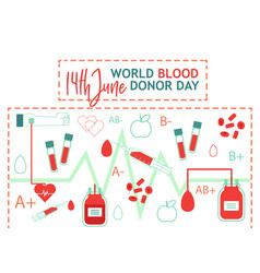 world blood donor day with images of vector image