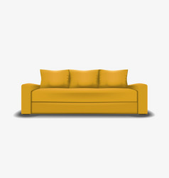 Yellow sofa single object realistic design vector