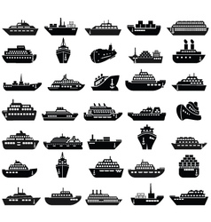 30 Ship and boat icon set vector image vector image