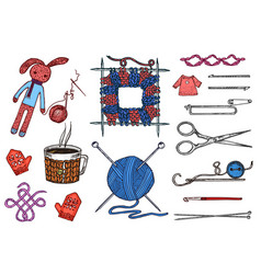 set tools for knitting or crochet and materials or vector image