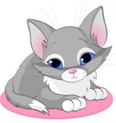 sitting kitten vector image vector image