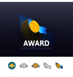 Award icon in different style vector image