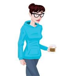 Girl in Hoodie vector image vector image