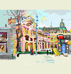 plein air digital painting of cityscape - kiev vector image vector image