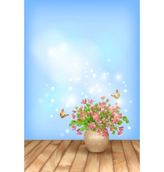Spring pink flowers butterfly on sky background vector image vector image