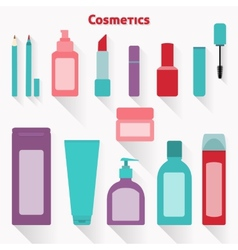 Flat cosmetic icons set vector image