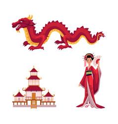 Geisha with fan dragon pagoda set vector