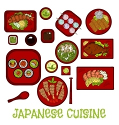 Japanese seafood dinner with dessert sketch icon vector