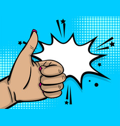 pop art woman hand show thumb up finger vector image