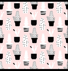 abstract plants seamless pattern - style cactuses vector image