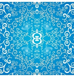 Blue symmetric floral ornament background vector image vector image
