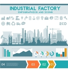 Flat industrial factory inforgraphics template vector image vector image