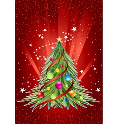 Happy new year card with colorful christmas tree vector image