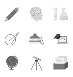 School set icons in monochrome style Big vector image vector image