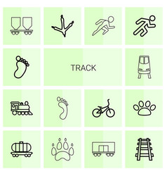 14 track icons vector image