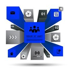 3d modern infographic blue vector