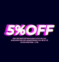 5 off five percent sale bright pink vector