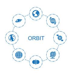 8 orbit icons vector