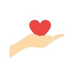 A hand giving a red heart flat icon vector