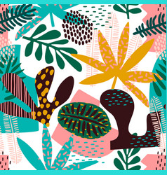 Abstract seamless pattern with tropical leaves vector