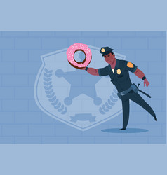 African american policeman hold donut wearing vector