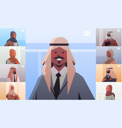 Arab businessman discussing during video call vector