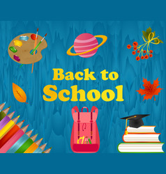 Back to school wooden background with school items vector