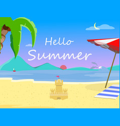 beach background and hello summer typography flyer vector image