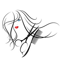 Beautiful girl and scissors with a comb vector