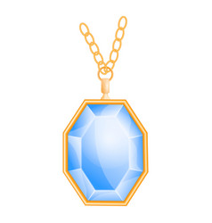 blue gemstone mockup realistic style vector image