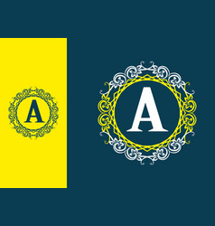 blue yellow white a initial letter in classic vector image