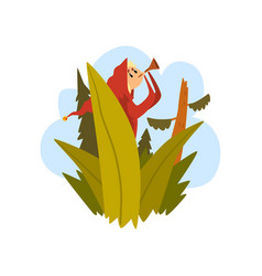 boy got lost in the forest child sitting on a vector image