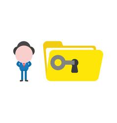 businessman unlock open file folder with key vector image