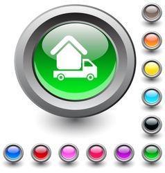 Camper round button vector image