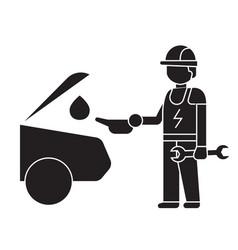 car oil change black concept icon car oil vector image