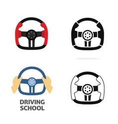 car steering wheel isolated and with driver vector image