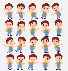 Cartoon character white boy in jeans set with vector