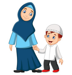 cartoon muslim mother with her son vector image