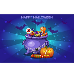 cartoon pot with candy set happy vector image