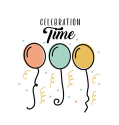 celebration time birthday balloons flying vector image
