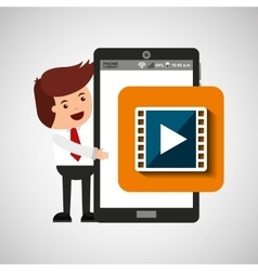 Character with mobile app movie video vector