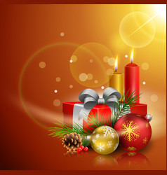 christmas greeting card gift boxes balls candles vector image