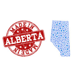 Collage map of alberta province with cog vector