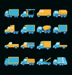 Collection of truck icons in flat style vector