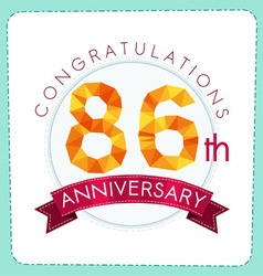 Colorful polygonal anniversary logo 3 086 vector
