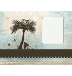 couple under palm frame background vector image